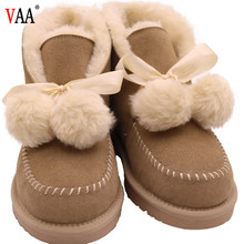 AN-CF-97 Free Samples Rabbit Fur And Genuine Leather Warm Cheap Ladies Snow Boots,Brown Boots