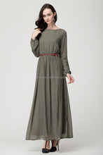 Newest design with belt muslim women long dress/ United Arab Emirates women long abaya / lady kaftan