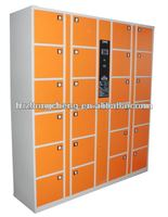 Barcode operated locker cabinet with coin / banknote received