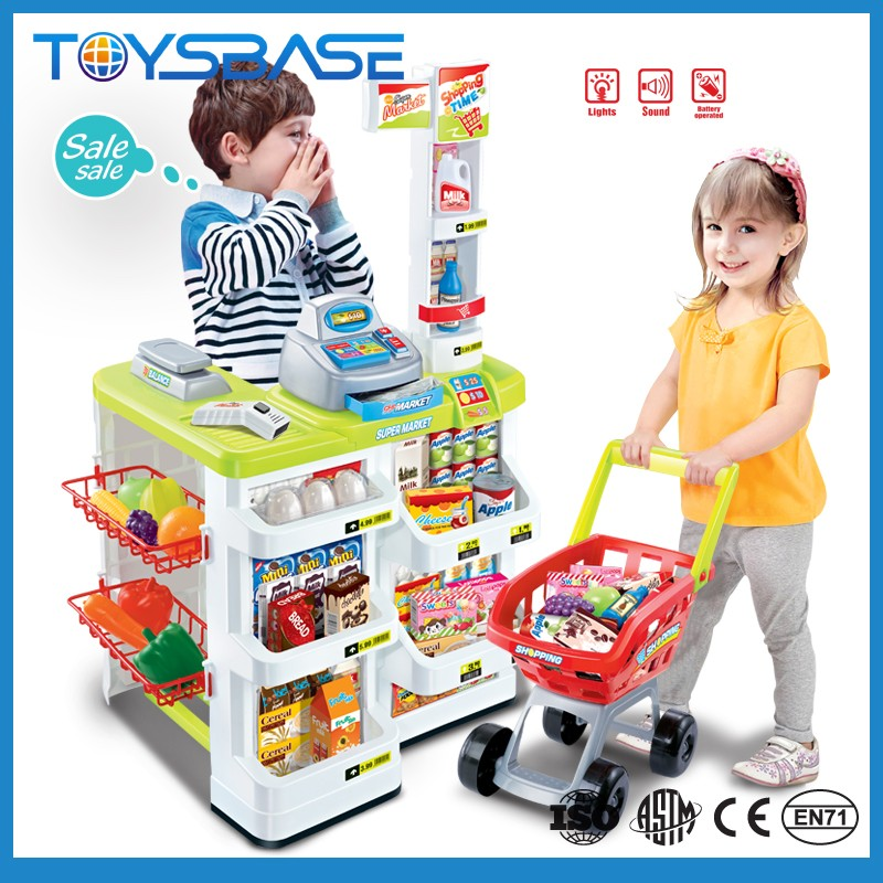 Wholesale <strong>toy</strong> from China cash register table shopping cart kids supermarket <strong>toy</strong>