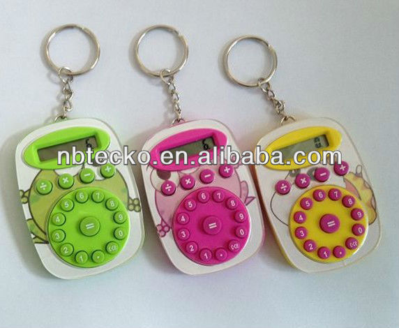 Mini plastic pocket calculator with keyring