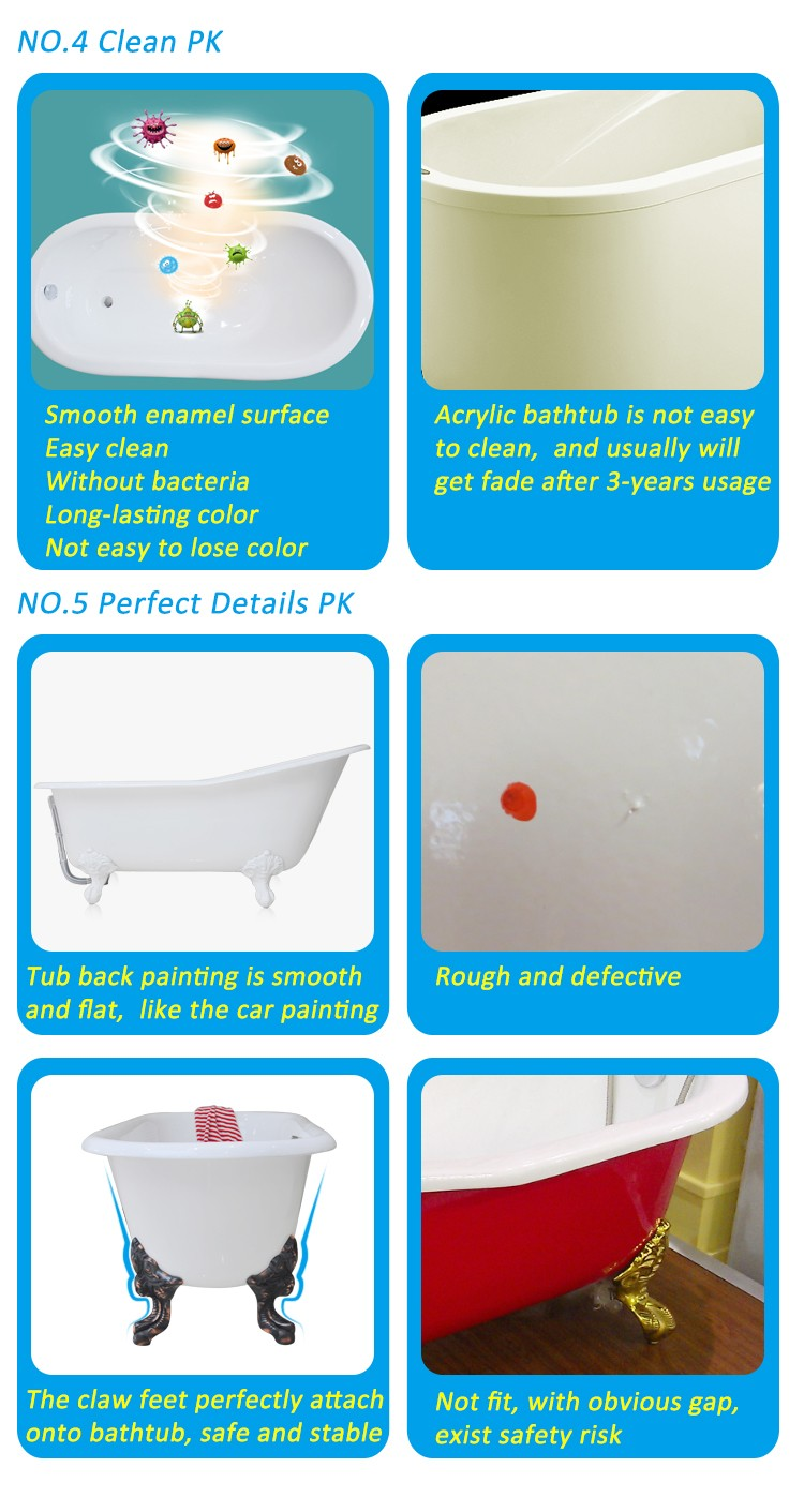 hot sale cast iron bathtub for hotel project