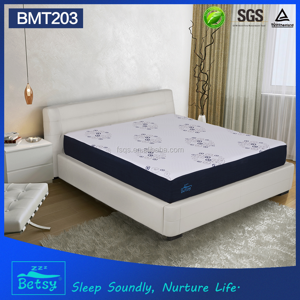 OEM resilient roll up mattress 25cm high with gel memory foam and knitted fabric zipper cover