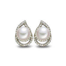 Elegant new design sterling silver freshwater pearl teardrop ear stud earring