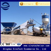 China trailer mobile 25m3/h concrete batching plant price
