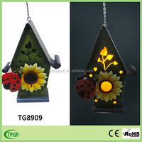 Animal metal decoration bird house nest garden solar light hanging ornament
