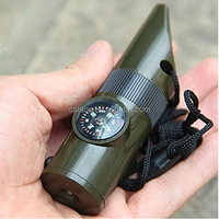 Lofty Trendy Keychain 7in1 LED Flashlight Keyfob Survival Viewfinder Thermometer Colors Olive Green