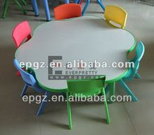 Coloful kids mushroom table and chairs