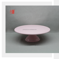 2015 New Products Color Clay Pink Ceramic Cake Stand with Silver Line and Cake Shovel