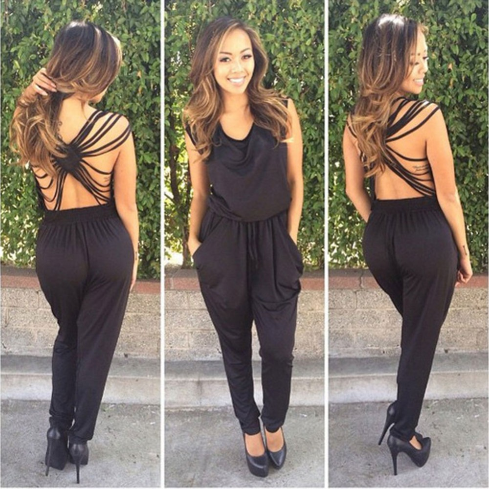 2016 Fashion Elegant Jumpsuits Rompers Women Sexy Summer O Neck Backless Black Bodysuit Overalls ...