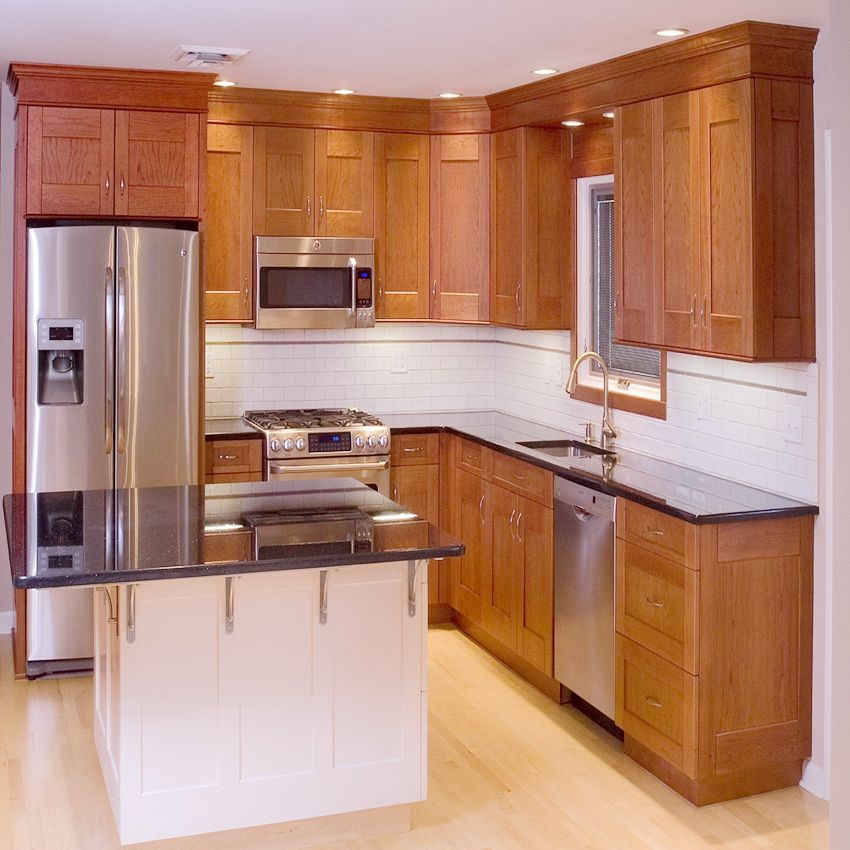 Luxury cherry solid wood kitchen cabinet sapiential for Cherry wood kitchen cabinets price