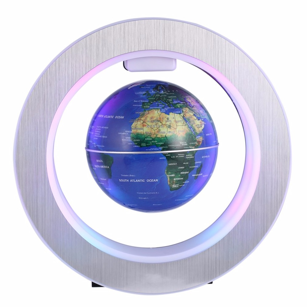Decoration Magnetic Levitation Floating Globe World Map with LED Light with Electro Magnet and Magnetic Field Sensor