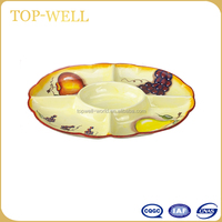 Oval 5 compartments fancy ceramic raisin dish and dired fruit plate made in china