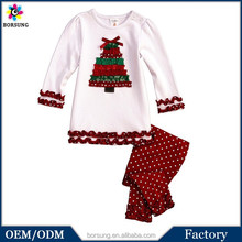 One Piece Girls Party Dresses Christmas Tree Pattern Long Sleeve Shirt Matching White Polka Dots Pants Baby Christmas Outfit