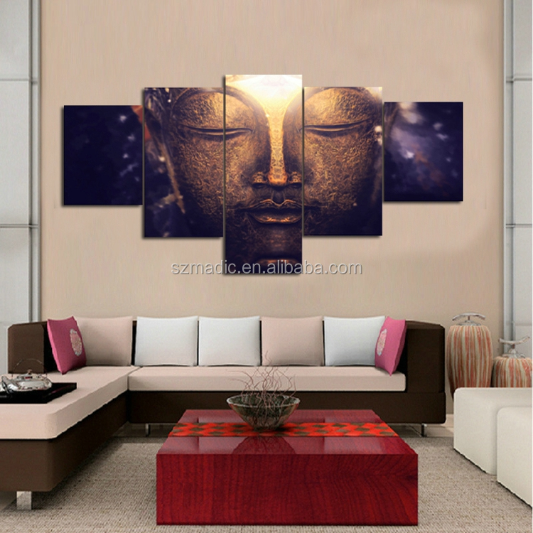 Large 5 Panel Canvas Art Buddha Painting Home Decorative Canvas Prints Framed Dropshipping