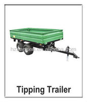 Tipping Trailer.atv tipper trailer for tractor off road trailer tandem axle,,small wheel heavy duty golf lawn tractor dump cart