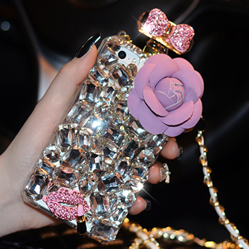 Luxury Camellia Perfume Bottle Bling Rhinestone Diamond soft tpu Case Cover For iPhone 7 6 6s plus 5 5s samsung s6 s7 edge note5