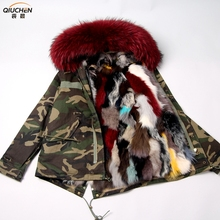 2018 newest real fox fur parka for women brand military winter parka Fur Lined Parka