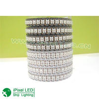 144leds/roll ws2812b led digital strip Black pcb in silicon IP65