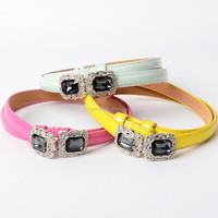 2014 Wholesale fashion crystal s pu leather women belts