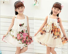 Girls fake piece Princess Chiffon Floral Dresses