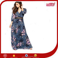 2016 New Design Hot Wholesale 100% Polyester Printed Elegant Chiffon Casual Fashion Fancy Maxi Lace With Waist Dress