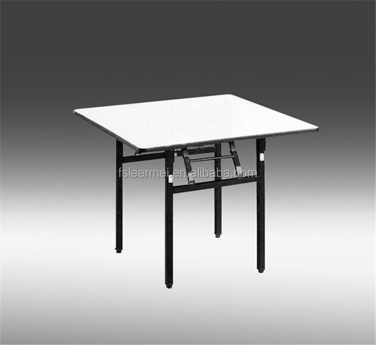 Hot sell New design white steel legs folding wooden square table