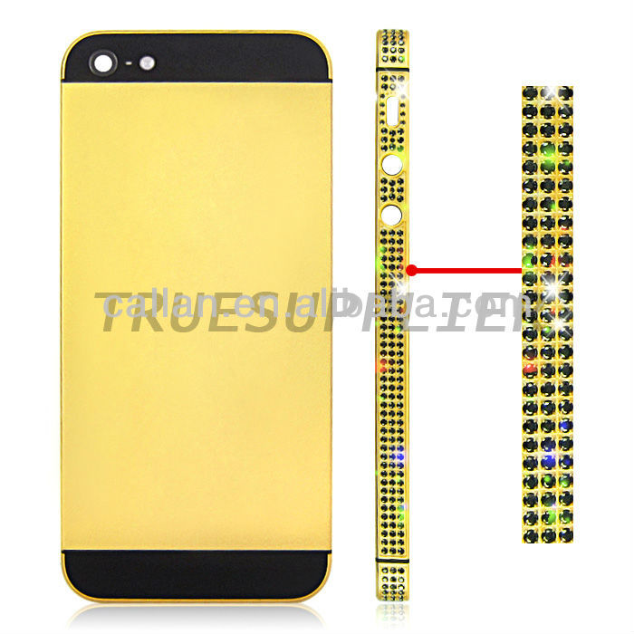 luxury diamond housing for iphone 5 bezel middle plate gold color