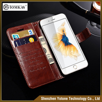 Genuine PU Leather Wallet case for iphone 6 , card holder leather flip case ,mobile phone case