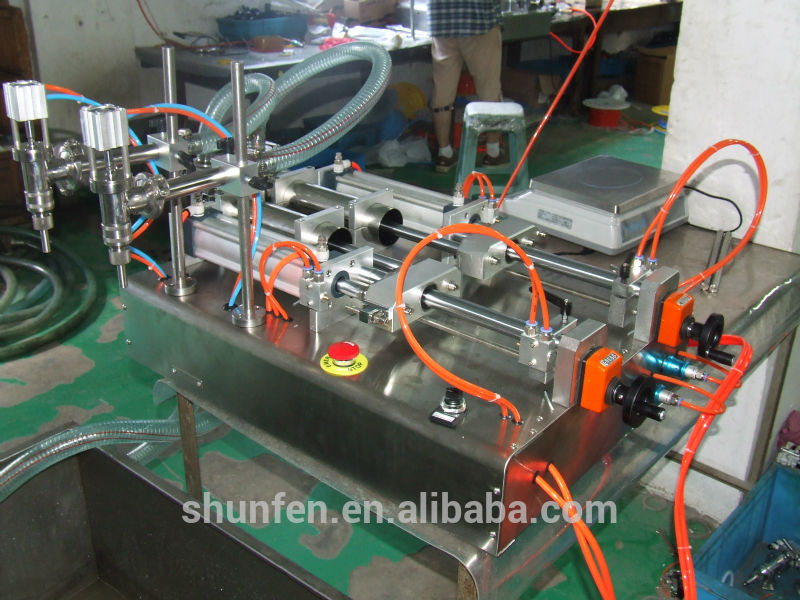 Full Pneumatic Double-head Glycerine Filling Machine without electricity (semi-auto liquid filler, water filler, oil filler )