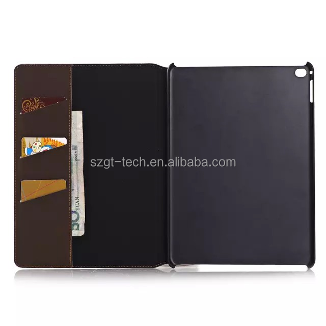 New arrival leather card slot case for Apple ipad air 2,for ipad air 2 stand case cover