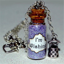 Snow White I'm Wishing Magical glass Bottle Necklace with a Wishing Well Charm Inspired necklace