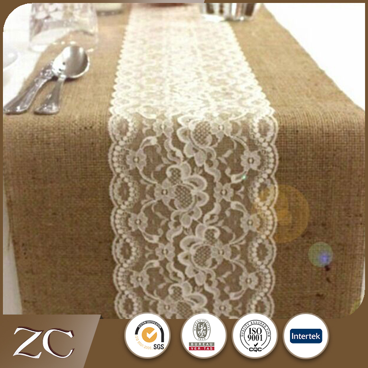 Wholesale hotel lace polyester burlap linen wedding table runner