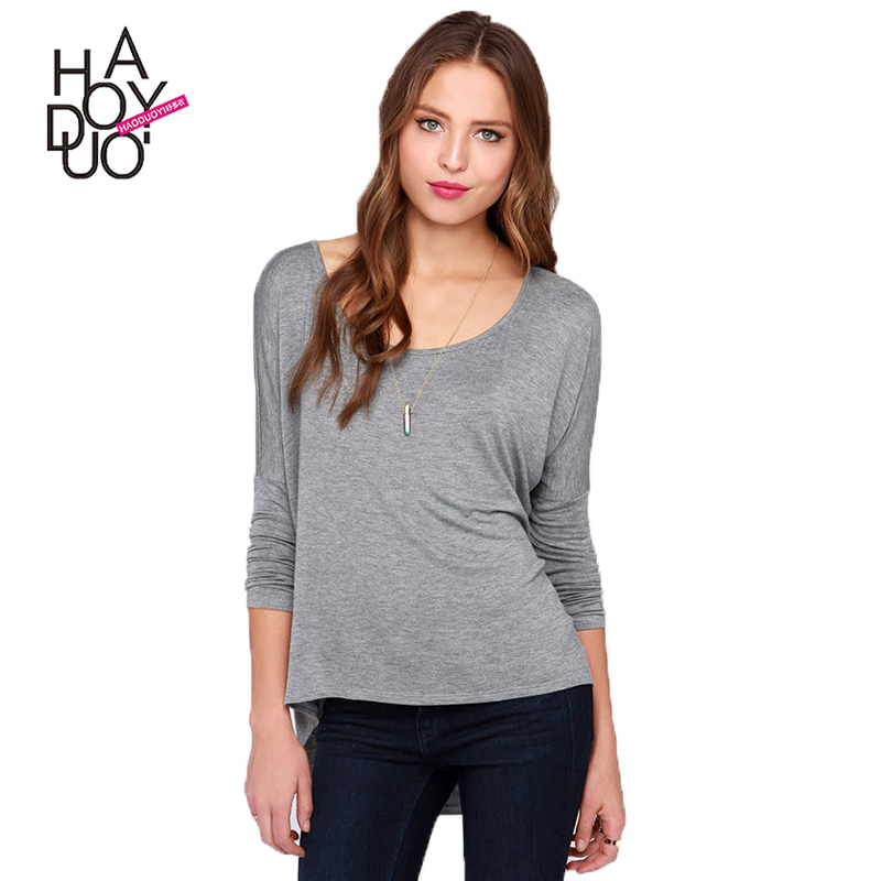 HAODUOYI Women Casual Knitted Pullover Tops Loose Bulk Long Sleeve <strong>T</strong>-<strong>shirt</strong> for Wholesale