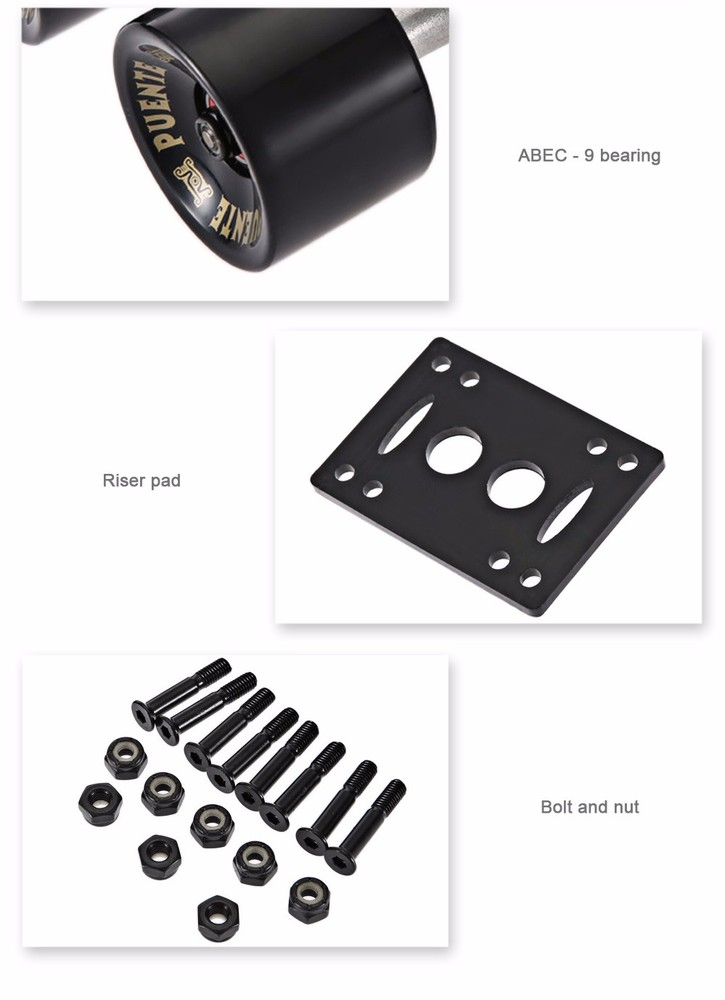 Free Shipping 2pcs / Set Skateboard Truck with Skate Wheel Riser Pad Bearing Hardware Accessory Installing Tool