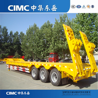 CIMC Direct Factory 3 Axle 40 Ton Semi Low Bed Vehicle Truck Trailer For Sale