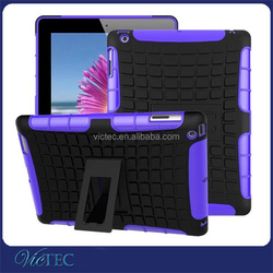 2015 latest popular silicone rubber hybrid kickstand tablet case for iPad 234