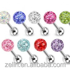 Yiwu zelin epoxy crystal tongue bars body piercing jewelry