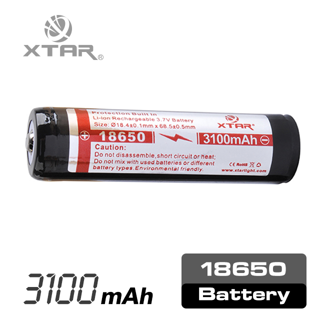 XTAR mutifunctional built in protection circuit 3.6v li-ion rechargeable battery for led light shaver