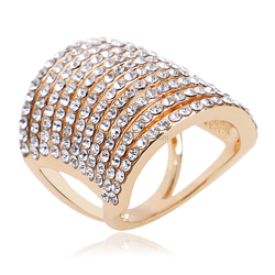 18k Gold Plated Rings Statement Full Austrian Crystal Cz Zircon 18kgp Gold Ring