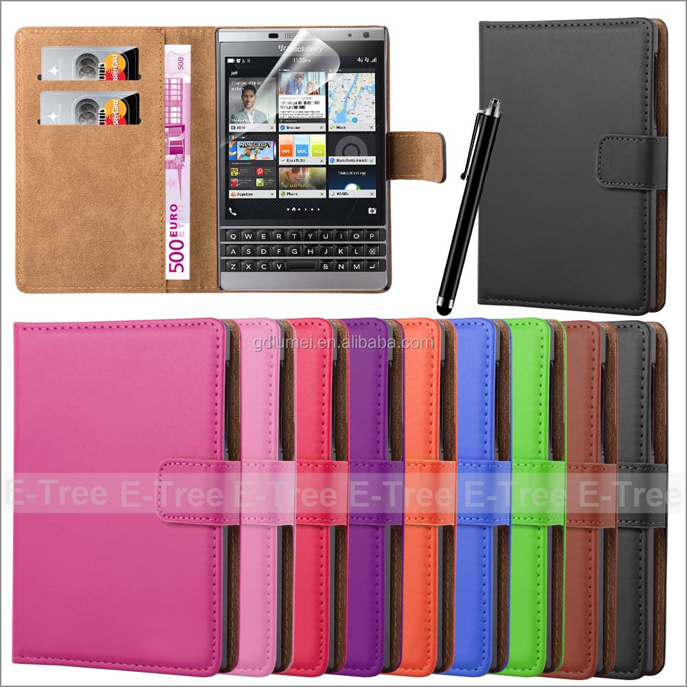 High Quality 100 Pattern Soft PuCase For blackberry passport Cell Phone Case ,With Two Card Holder Wallet Pu Leather Case