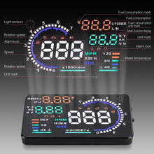 "Car Head Up Display 5.5"" Universal HUD Vehicle-Mounted Projector with OBD2, EUOBD Interface Plug Play"