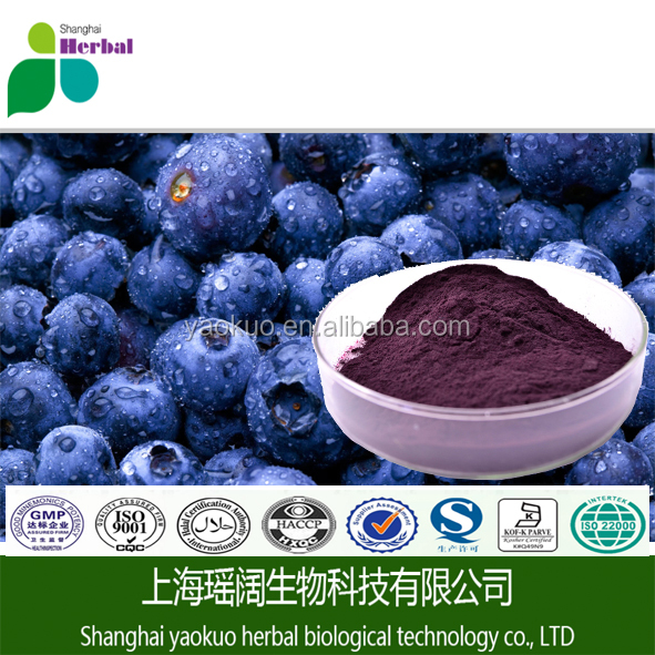 100%Natural blueberry extract concentrate powder anthocyanins 25%, Cas No.:84082-34-8