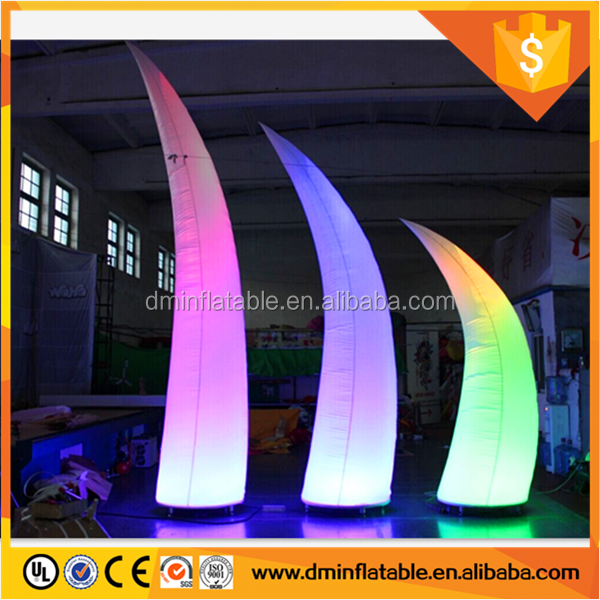 2016 popular inflatable led tusk, inflatable air cone, horn shape balloon for wedding event