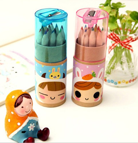 Non-toxic and eco-friendly 12 colors colored pencils for children in paper tube with sharpener