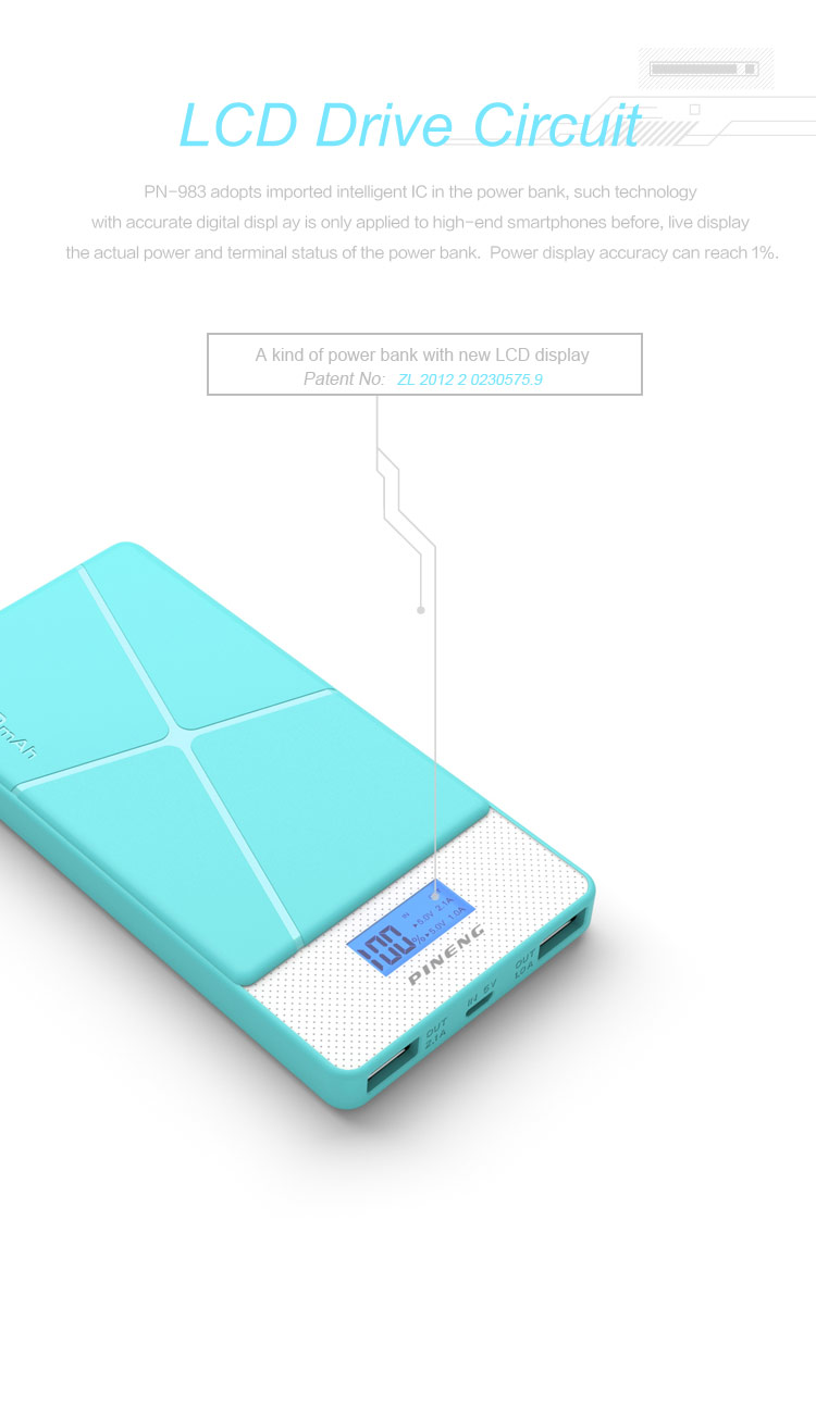 Pineng PN-983B Li-polymer Portable dual usb port 10000mah Mobile Power Bank