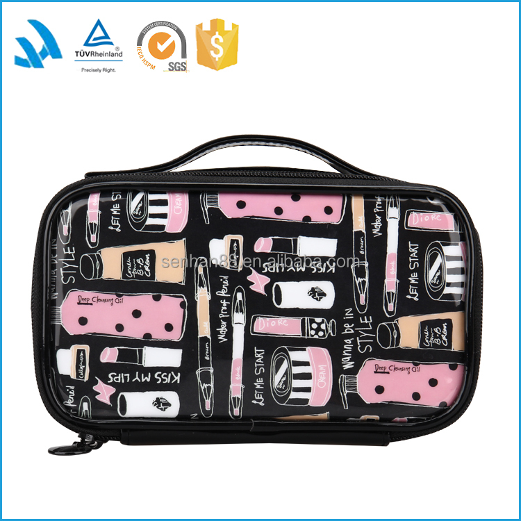 New products black plastic waterproof cosmetic makeup bags and cases