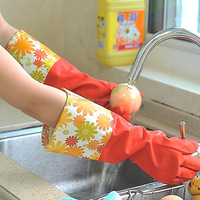 Household dish cleaning colorful long protective latex gloves,warm fleece-lined latex gloves