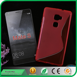 soft gel case factory mobile phone waterproof s shape tpu back cover for huawei mate s
