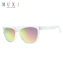 Wholesale 2018 fashionable uv400 transparent frame unisex city vision sunglasses with custom logo